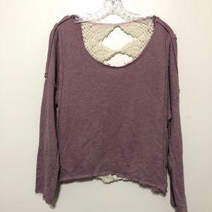 Free People Crochet Lace Open Back Sweater Purple